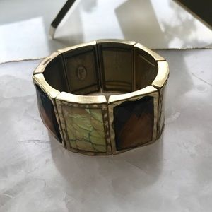 Lia Sophia Pearlescent & Bronze Stone Bracelet